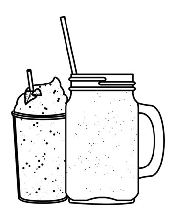 fruit tropical smoothie drink with plastic cup, squared glass and straw icon cartoon in black and white vector illustration graphic design Çizim