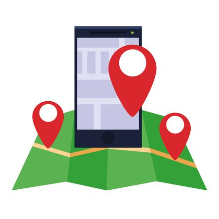 smartphone mobile technology device with gps location cartoon vector illustration graphic design
