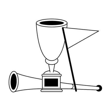 Soccer trophy cup tournament with red flag and horn vector illustration graphic design