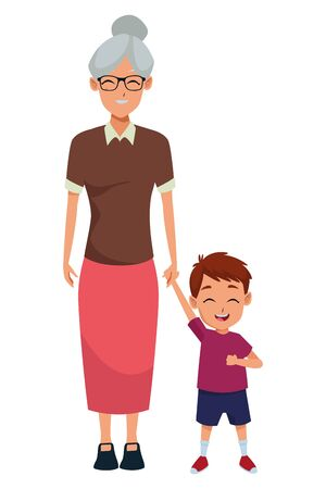 Family grandmothertaking care of grandson cartoon vector illustration graphic design Ilustração