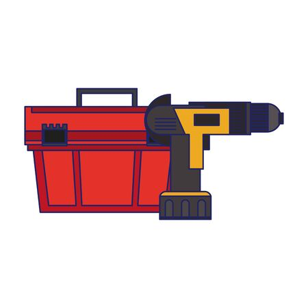 Construction tools toolbox and drill symbols vector illustration graphic design 向量圖像