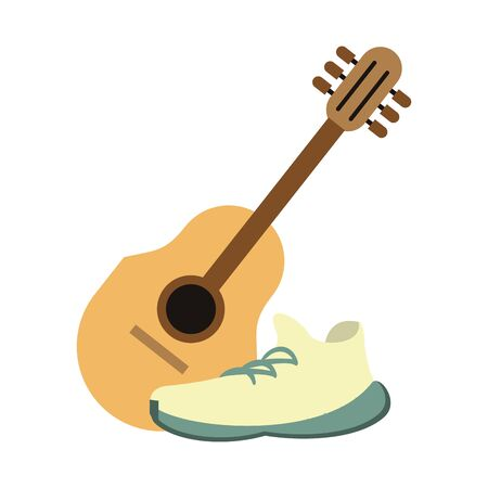 acoustic guitar and white sneakers isolated symbol Vector design illustration Çizim
