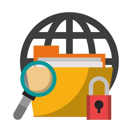 magnifying glass checking web documents system with security technology cartoon vector illustration graphic design