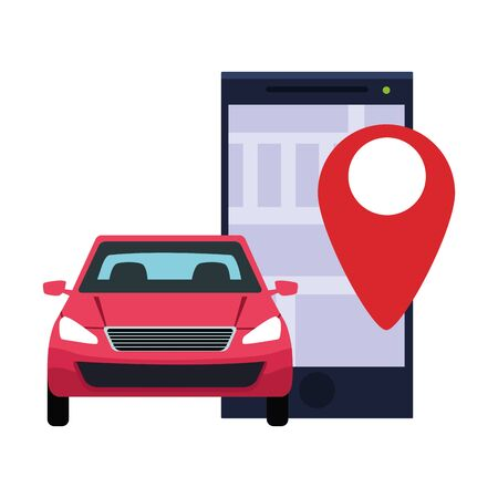 car transport sedan red vehicle with gps location technology cartoon vector illustration graphic design Иллюстрация