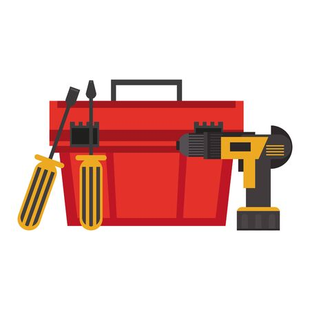 Construction tools toolbox with drill and screwdrivers vector illustration graphic design