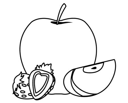 delicious mix of fruit with apple and strawberries icon cartoon in black and white vector illustration graphic design