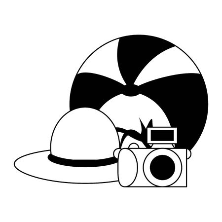 Summer and travel hat beach ball and camera cartoons vector illustration graphic design Stock Illustratie