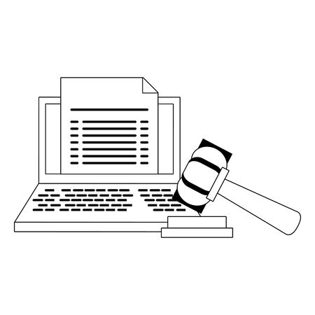 Laptop with document and justice gavel symbol in black and white vector illustration