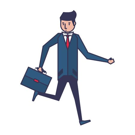 executive business finance man wearing suit and holding suitcase cartoon vector illustration graphic design Illustration