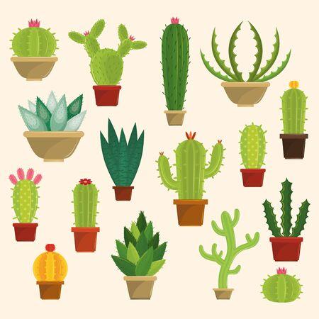 Cactus succulents pots set of icons collection vector illustration graphic design