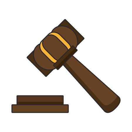 Justice gavel hammer symbol isolated vector illustration