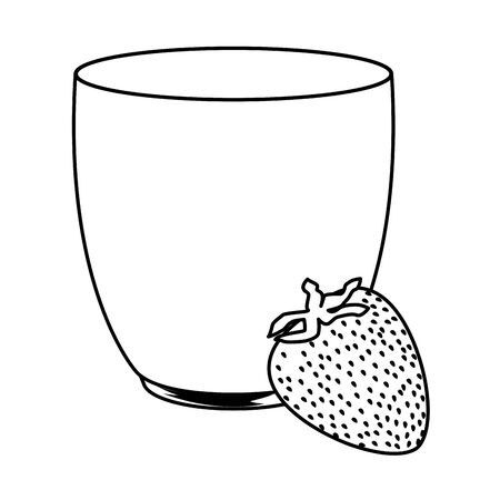 tropical fruit and smoothie drink with strawberry icon cartoon in black and white vector illustration graphic design Stok Fotoğraf - 130945624