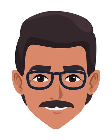 indian man face with moustache and glasses profile picture avatar cartoon character portrait vector illustration graphic design 向量圖像