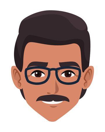 indian man face with moustache and glasses profile picture avatar cartoon character portrait vector illustration graphic design Illusztráció