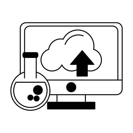technology device computer screen working knowledge success idea cartoon vector illustration graphic design in black and white 일러스트