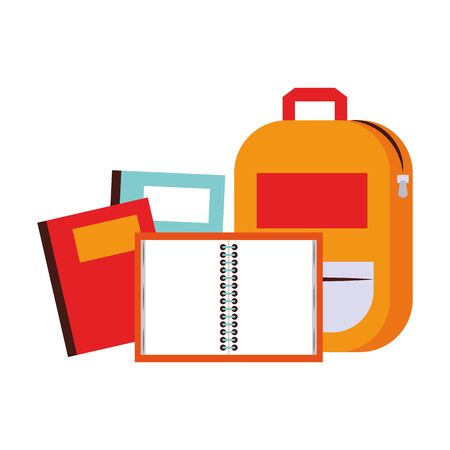 Back to school education backpack and notebooks cartoons vector illustration graphic design Çizim
