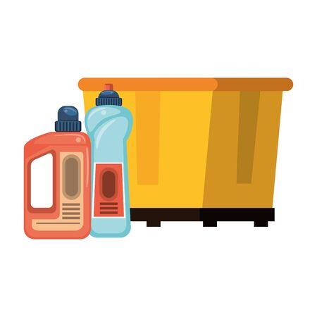 Cleaning equipment and products trash can and soap bottles vector illustration graphic design.