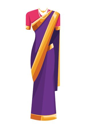 indian woman dress traditional hindu clothes sari shalwar kameez icon cartoon vector illustration graphic design