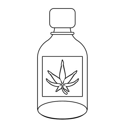 cannabis martihuana medical marijuana medicine sativa hemp oil bottle cartoon vector illustration graphic design Иллюстрация