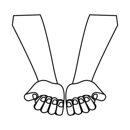 hands palm up and closed fist showing nails icon cartoon black and white vector illustration graphic design 版權商用圖片 - 130721813