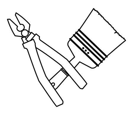 Construction tools plier and paint brush crossed cartoon symbol vector illustration graphic design. 向量圖像