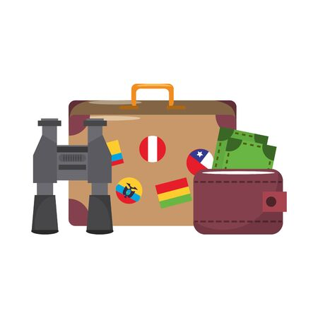 Summer and travel suitcase binoculars and wallet with cash cartoons vector illustration graphic design