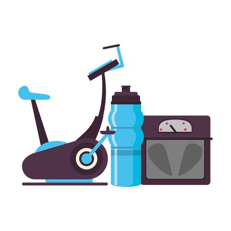 fitness equipment workout health and stationary bicycle scale water flask symbols vector illustration graphic design Çizim