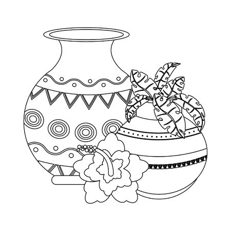 Indian lotus flowers and decorative porcelain jars with leaves isolated vector illustration graphic design Illustration