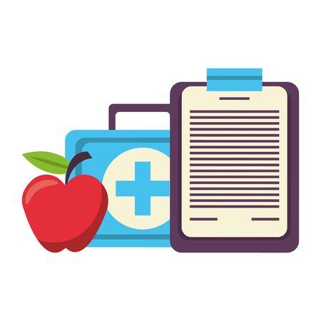 Fitnessgeräte Training Gesundheit und Logbuch Apple Medical Kit Symbole Vektor-Illustration Grafikdesign Vektorgrafik