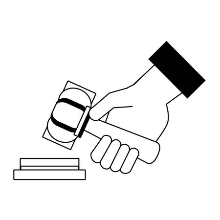 Justice hand with gavel cartoon isolated in black and white vector illustration