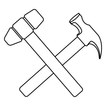 Construction tools hammer and mallet crossed cartoon symbol vector illustration graphic design. Çizim