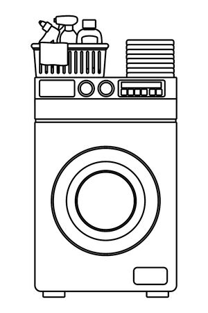 laundry wash and cleaning liquid soap, cleaning shampoo and spray cleaner into a cleanliness basket with a cloth and folded clothes over a washing machine icon cartoon in black and white vector illustration graphic design
