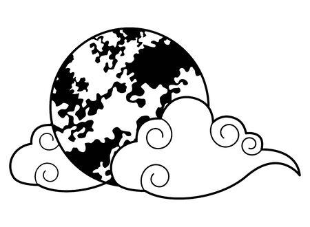 Pleine lune avec symbole isolé de dessin animé de nuages, conception graphique d'illustration vectorielle.