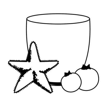summer beach and vacation with starfish, tropical fruit and smoothie drink icon cartoon in black and white vector illustration graphic design