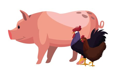 farm, animals and farmer pig, rooster and hen icon cartoon vector illustration graphic design