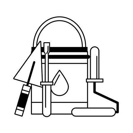 painting work house renovation accessories cartoon vector illustration graphic design Ilustração