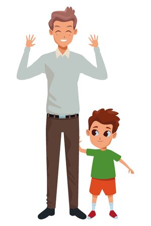 Family single father with little son cartoon vector illustration graphic design Vectores