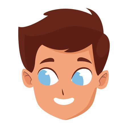 adorable cute young boy face with brown hair and blue eyes happy childhood cartoon vector illustration graphic design