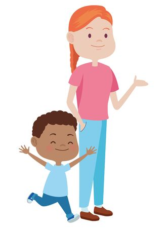 Family single mother playing and smiling with afroamerican son cartoon ,vector illustration graphic design.