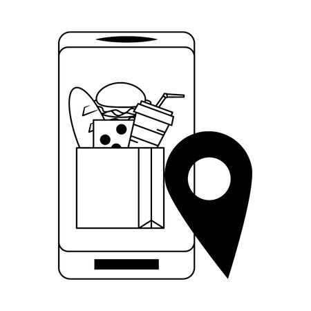 Online food order from smartphone hamburger cheese soda and milk in paper bag with location pin vector illustration graphic design