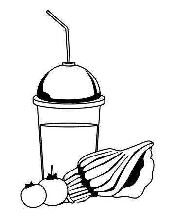 summer beach and vacation with seashell, tropical fruit and smoothie drink icon cartoon in black and white vector illustration graphic design