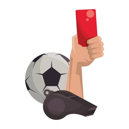 Soccer football sport game referee hand holding card and ball with whistle vector illustration graphic design