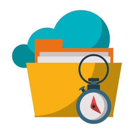 documents files system cloud archives cartoon vector illustration graphic design 일러스트