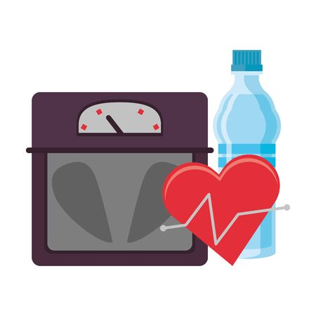fitness equipment workout health and heart cardiology water flask scale symbols vector illustration graphic design Çizim