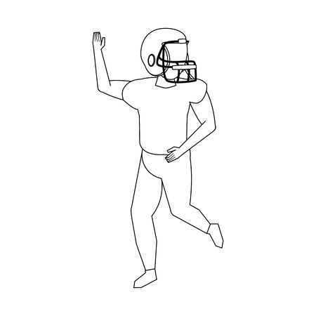 american football sport game player training wearing helmet cartoon vector illustration graphic design
