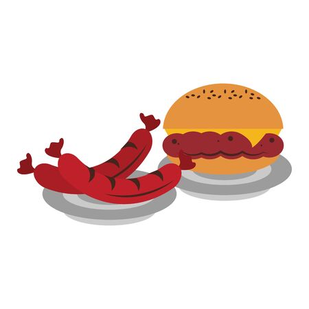 Barbecue food hamburger and sausages in dish vector illustration graphic design