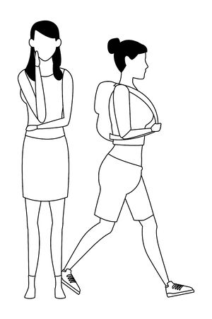 casual people women cartoon vector illustration graphic design Çizim