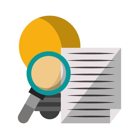 magnifying glass checking idea system technology cartoon vector illustration graphic design