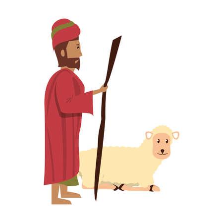 merry christmas nativity christian manger catholic religion december biblical wise man scene cartoon vector illustration graphic design Reklamní fotografie - 130774661