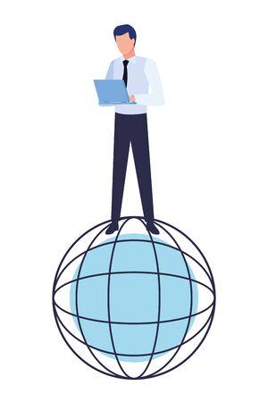 globe world sphere under a businessman with a laptop icon cartoon 일러스트